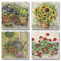 In The Garden Flowers Absorbent Coaster Set