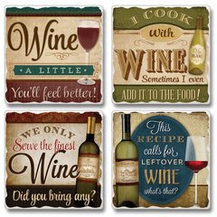 Wine A Little Absorbent Coaster Set