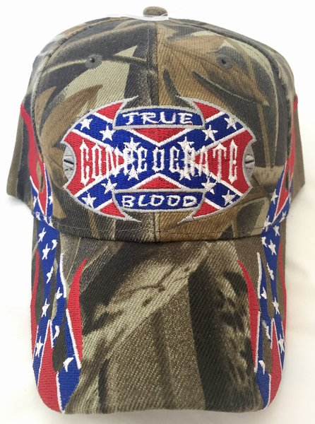 Camo True Confederate Blood Embroidered Baseball Cap Dl