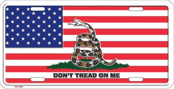 Gadsden W Usa Flag Don T Tread On Me Metal License Plate