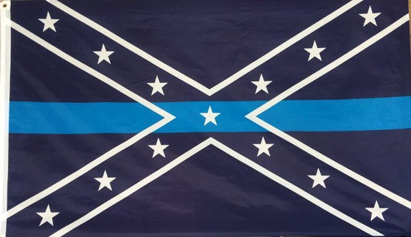 Rebel With Thin Blue Line Flag Dl Grandeurs Confederate