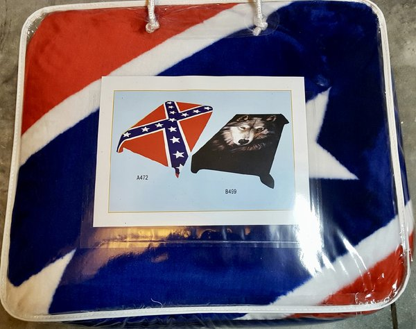 Confederate Flag Reversible Wolf Blanket Queen Size Dl