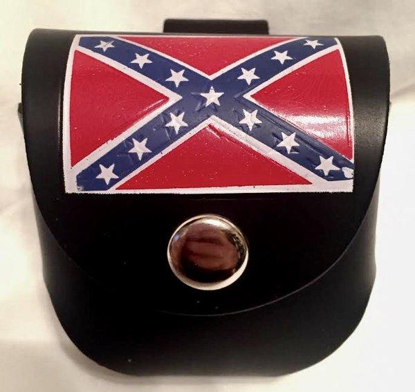 Rebel Flag Leather Snuff Case Dl Grandeurs Confederate