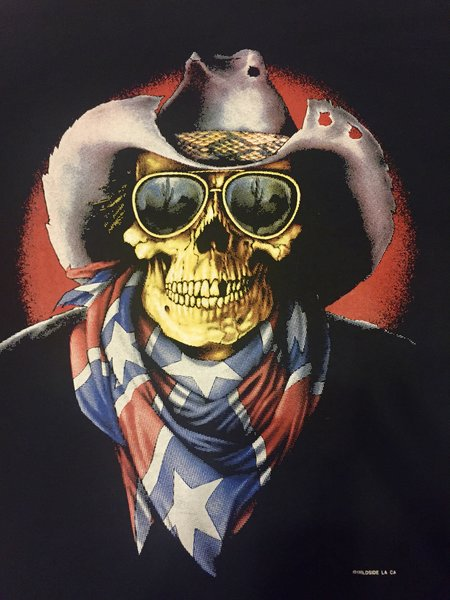 Rebel Cowboy Skull T Shirt Dl Grandeurs Confederate