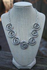 Volare Pewter Spirals Necklace