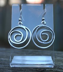 Volare Pewter Spiral Earring