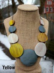 Suzie Blue Wooden Disc Necklace -- MORE COLORS