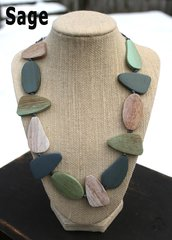 Suzie Blue Asymmetrical Wooden Pebble Necklace