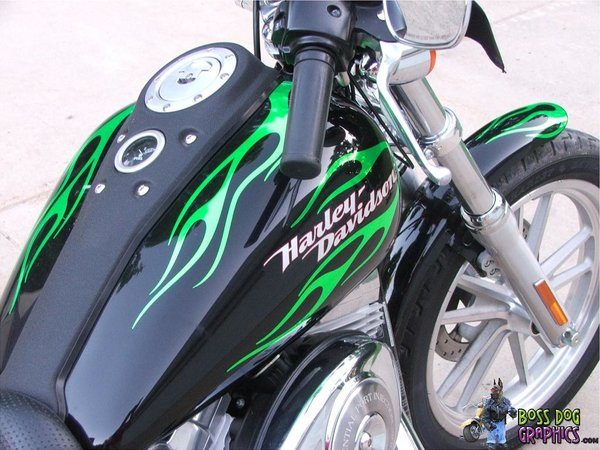 Custom Flame Decal Kit For Harley Super Glide Boss Dog Graphics - Harley davidson custom vinyl stickers