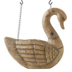 11 Inch Tan Resin Swan