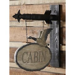 "GREY RESIN ""CABIN"" SIGN W/ GOOSE"