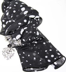 Black _ White Scarf with pendant