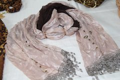 Double sided Scarf Ivory _ Brown