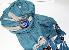 Teal Scarf with elegant pendant