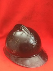 Belgium M15 Adrian helmet very nice condition with badge and leather liner and rare original black paint work