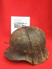 German Luftwaffe soldiers M40 helmet single decal with chicken wire recovered in 2014 from the Falaise Pocket in Normandy