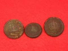 3 German Prussian soldiers jacket buttons recovered from the battlefield at Passchendaele from the 1917 battle part of the third battle of Ypres