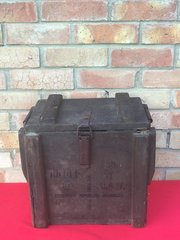 German 7.58cm light Minenwerfer mortar ammunition crate dated 30th April 1917,fantastic condition many markings,with internal divider still in place found on the Somme battlefield