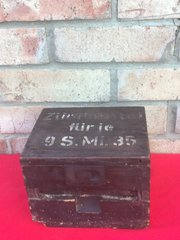 German S-Mines (the famous Bouncing Betty mines) wire,fuse and plugs box it has original paintwork stamped markings,waffen stamp dated 1942 in very nice condition found in Normandy