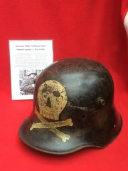 Very rare German 1918-1920's Freikorps M16 helmet named on the inside in very good condition with original paintwork
