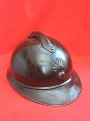 French Infantry soldiers M15 Adrian helmet with original black paintwork, badge,leather liner found on the Somme battlefield of 1916