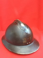 RARE French medical soldiers M1926 Adrian helmet with fantastic paintwork,painted badge found in Dunkirk from 1940 pocket