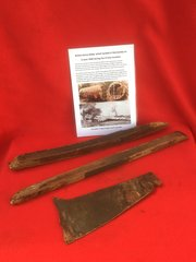Very rare 3 sections of wooden air frame panel with green paintwork from British Horsa Glider landed on the 6th June 1944 during the D-Day landings in Normandy