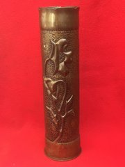 French 75mm shell case trench art lovely highly decorated flower design dated 1917 found on the Somme battlefield of 1916-1918