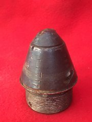 RARE British 18 pounder high explosive shell head complete,very nice condition still with its original markings and dated August 1917 recovered from battlefield at Passchendaele,1917 battle the third battle of Ypres