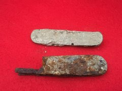 Pair of soldiers pocket knifes recovered from the battlefield at Passchendaele from the 1917 battle part of the third battle of Ypres