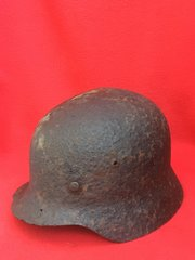 German Soldiers M40 Helmet liner remains,paint remains,blast damage recovered the Stalingrad battlefield 1942-1943