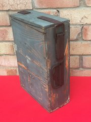French Hotchkiss machine gun wooden ammunition box which held metal ammo strips which is late war make,nice condition with paintwork found on the Somme battlefield