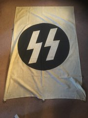 Original German SS flag with maker stamp on the back in very nice condition,British soldier veteran bring back found at Buchenwald in Germany very rare find