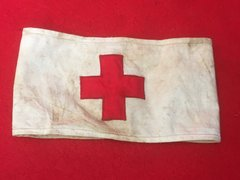 Very Rare German red cross arm band well used found on the Somme battlefield