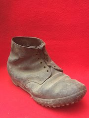 German soldiers black leather boot very nice and solid condition very rare for relic recovered from barn on a Farm in the village of Miraumont on The 1916-1917 Somme battlefield France