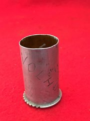 German trench art flare case named VOLHDV 1941 we believe was a village in Russia at the time the case was recovered SS Totenkopf Division bunker in The Demyansk Pocket in Russia the battle was from 8 February to 21 April 1942