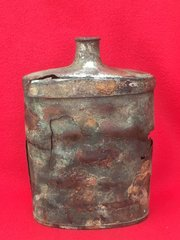 British Officers Water Bottle brass colour recovered from the battlefield at Passchendaele from the 1917 battle part of the third battle of Ypres