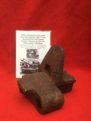 Track link guide horn section with blast damage,ripped from German Tiger 1 Tank recovered from the Falaise Pocket in Normandy from the 1944 Summer battlefield