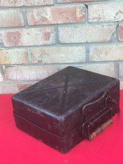 German 5cm Mortar shell carry case with all black paintwork,nice condition,no damage found in Normandy from 1944 battlefield
