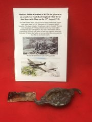 Engine label and fuel tank cap maker marked recovered from Junkers Ju88A-4 bomber of KG54 shot down 13th August 1940 and crashed at Swanbourne Lake in Arundel