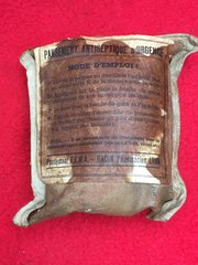 French soldiers medical emergency antiseptic dressing recovered from the Somme battlefield 1916-1918 in Northern France