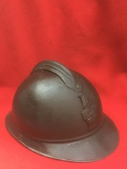 French Engineers M15 Adrian helmet which still has original paintwork,badge,leather liner and chin strap found on the Somme battlefield