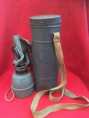 Complete French civilian gas mask in its original tin which is date stamped 1939 found on the Somme