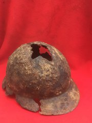 French Army soldiers M1926 Adrian helmet in relic condition recovered from around Bray Dunes in the Dunkirk Pocket of 1940