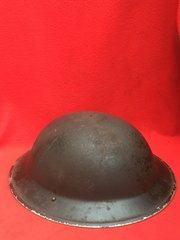 British Army issue black painted home front helmet with chin strap initials JC stamped 33 very nice condition with original paintwork