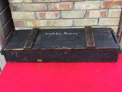 Very rare triple Shell wooden ammunition crate in very nice condition for German Pak 97/38 7.5cm anti-tank gun with markings very rare Tropical use issued for the Afrikakorps in North Africa