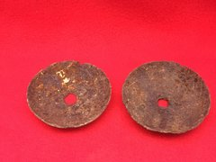 Pair of ranging disks from German Model 1914 Rod Grenade recovered from the battlefield at Passchendaele from the 1917 battle part of the third battle of Ypres