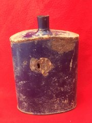 British Soldiers Water Bottle which still its original blue colour,cork inside the bottle recovered from the battlefield at Passchendaele from the 1917 battle part of the third battle of Ypres