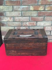 Very Rare German 21cm Morser 16 heavy howitzer 2x separated propelling charge brass cartridge cases wooden carry crate nice condition found on the Somme battlefield