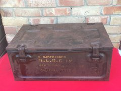 British metal carry case propelling charges for 5.5 inch artillery gun dated 1942,many markings,nice condition with paper label found in Normandy